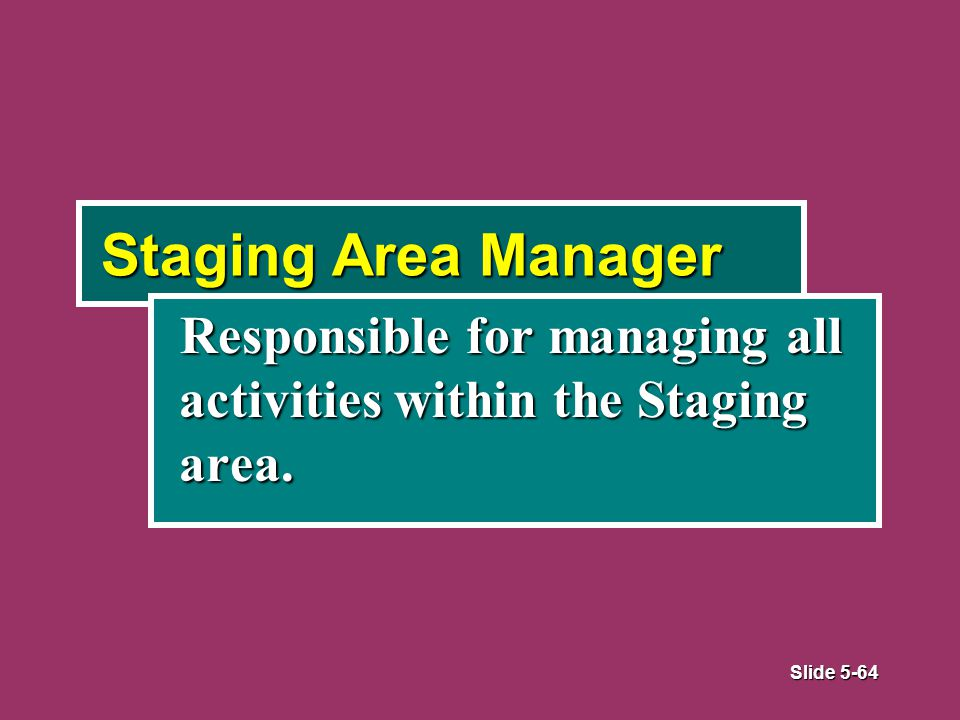 Slide 5-64 Staging Area Manager Responsible for managing all activities within the Staging area.