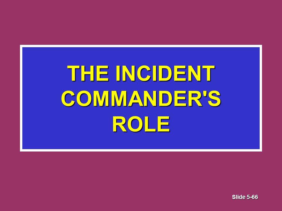 Slide 5-66 THE INCIDENT COMMANDER S ROLE