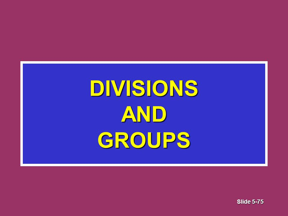 Slide 5-75 DIVISIONS AND GROUPS