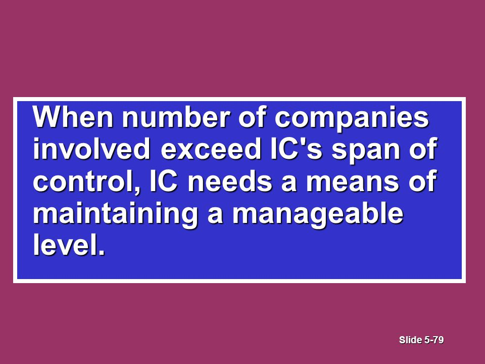Slide 5-79 When number of companies involved exceed IC s span of control, IC needs a means of maintaining a manageable level.