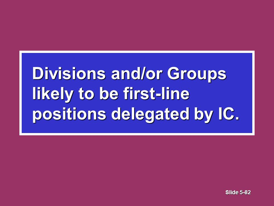 Slide 5-82 Divisions and/or Groups likely to be first-line positions delegated by IC.