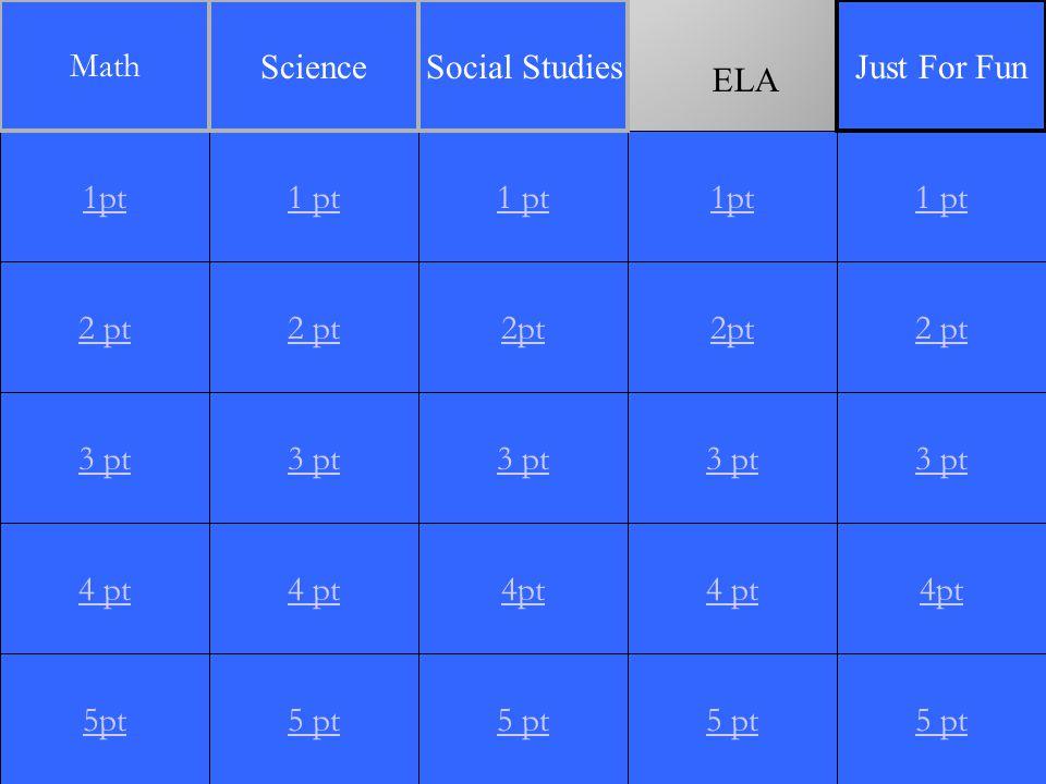 2 pt 3 pt 4 pt 5pt 1 pt 2 pt 3 pt 4 pt 5 pt 1 pt 2pt 3 pt 4pt 5 pt 1pt 2pt 3 pt 4 pt 5 pt 1 pt 2 pt 3 pt 4pt 5 pt 1pt Math ScienceSocial StudiesJust For Fun ELA