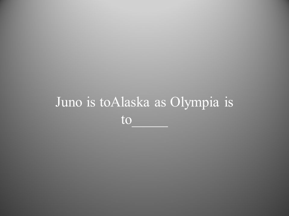 Juno is toAlaska as Olympia is to_____