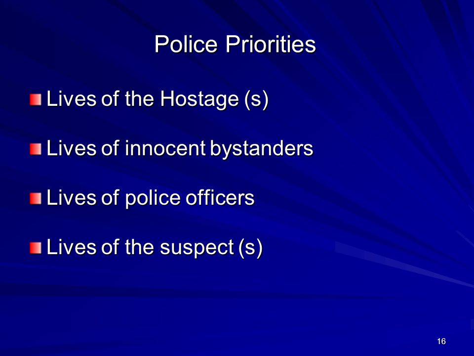 15 Resolution of an Active Shooter Situation Most likely by patrol.