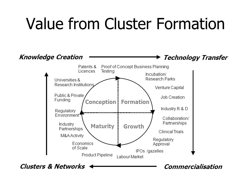 Value from Cluster Formation ConceptionFormation Growth Maturity Knowledge Creation Technology Transfer Commercialisation Clusters & Networks Industry
