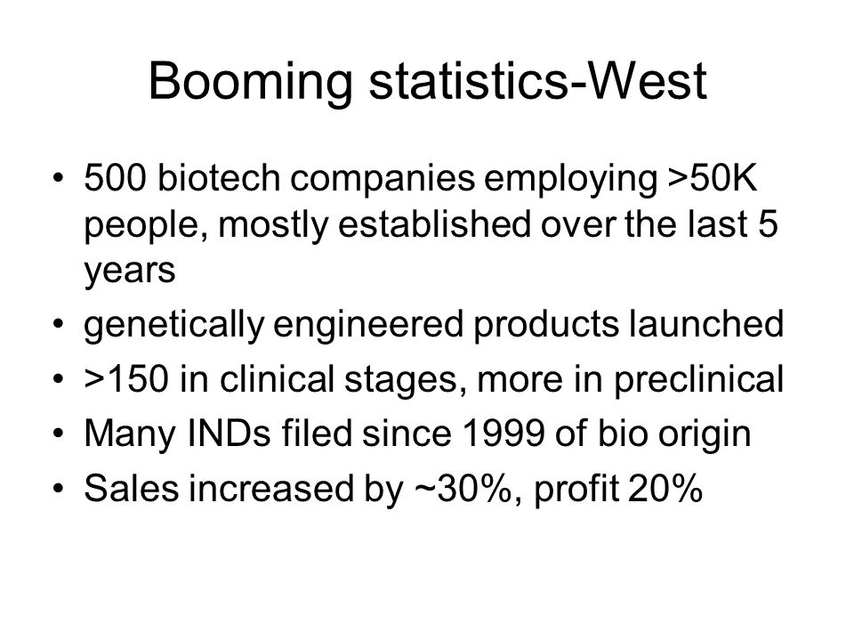Booming statistics-West 500 biotech companies employing >50K people, mostly established over the last 5 years genetically engineered products launched