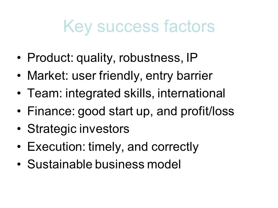 Key success factors Product: quality, robustness, IP Market: user friendly, entry barrier Team: integrated skills, international Finance: good start up, and profit/loss Strategic investors Execution: timely, and correctly Sustainable business model