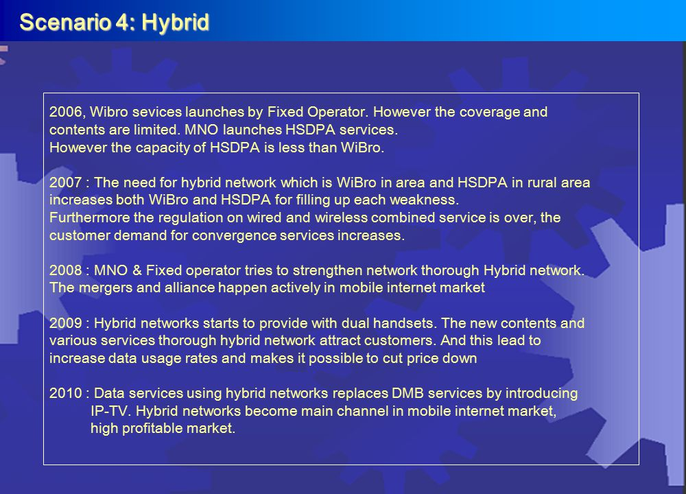 Scenario 4: Hybrid Scenario 4: Hybrid 2006, Wibro sevices launches by Fixed Operator. However the coverage and contents are limited. MNO launches HSDP