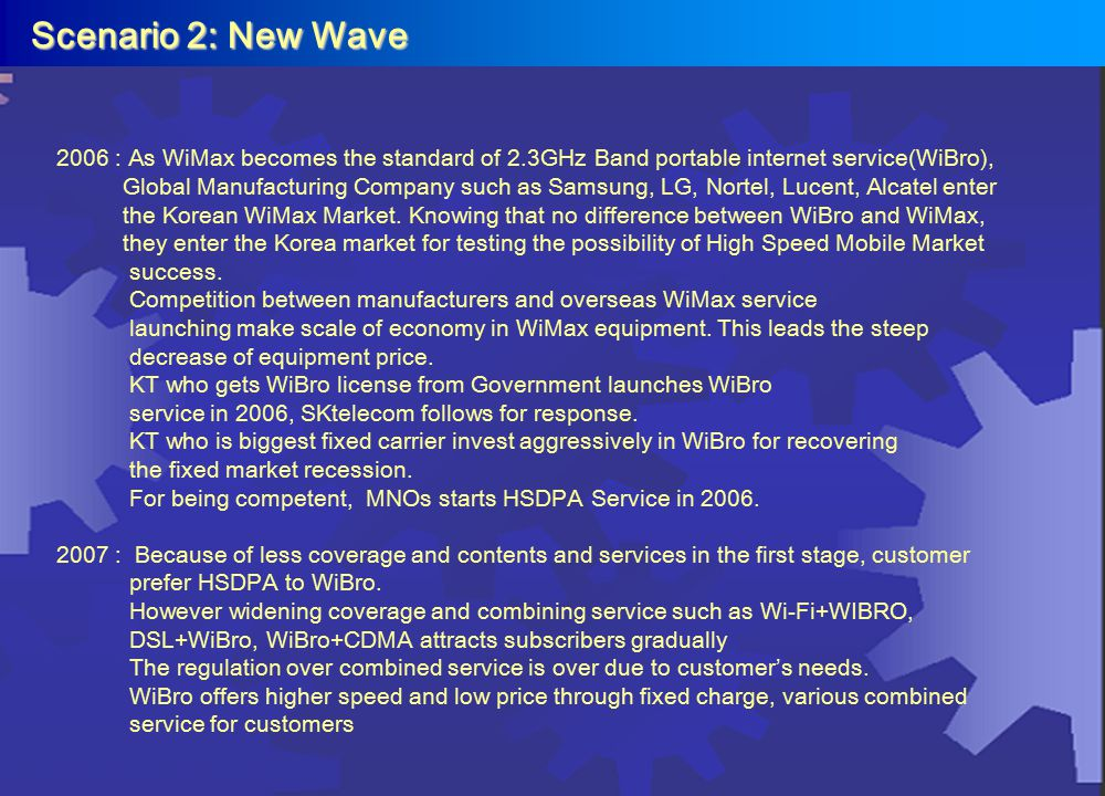 Scenario 2: New Wave Scenario 2: New Wave 2006 : As WiMax becomes the standard of 2.3GHz Band portable internet service(WiBro), Global Manufacturing C