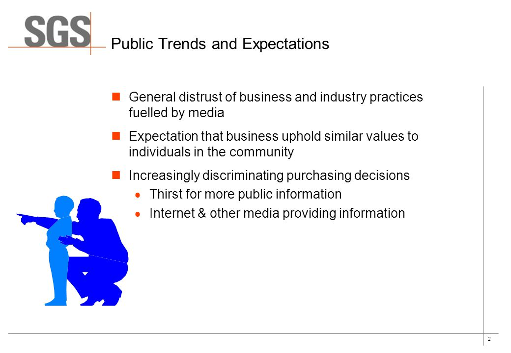 2 Public Trends and Expectations General distrust of business and industry practices fuelled by media Expectation that business uphold similar values to individuals in the community Increasingly discriminating purchasing decisions  Thirst for more public information  Internet & other media providing information