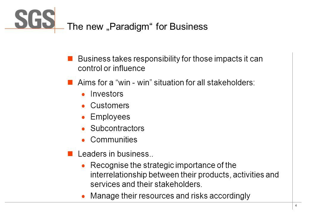 "4 The new ""Paradigm for Business Business takes responsibility for those impacts it can control or influence Aims for a win - win situation for all stakeholders:  Investors  Customers  Employees  Subcontractors  Communities Leaders in business.."