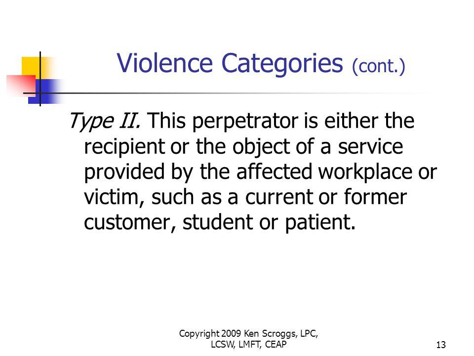 Copyright 2009 Ken Scroggs, LPC, LCSW, LMFT, CEAP12 Violence Categories Type I.