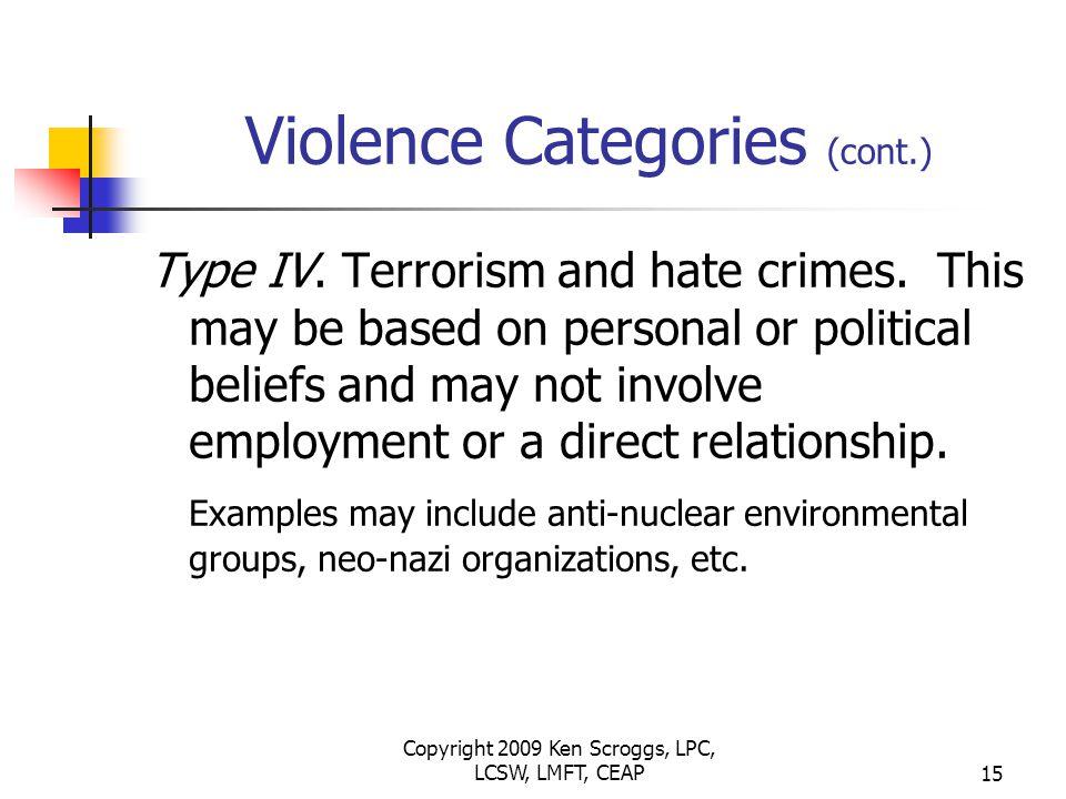 Copyright 2009 Ken Scroggs, LPC, LCSW, LMFT, CEAP14 Violence Categories (cont.) Type III.