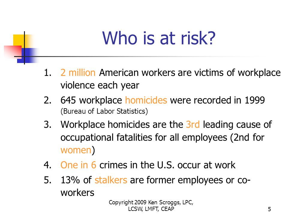 Copyright 2009 Ken Scroggs, LPC, LCSW, LMFT, CEAP25 Remember 1.Remember that other individuals who experience violence in the workplace may be traumatized and need intervention or counseling 2.Consult with EAP to assess need for Stress De-Briefing sessions.