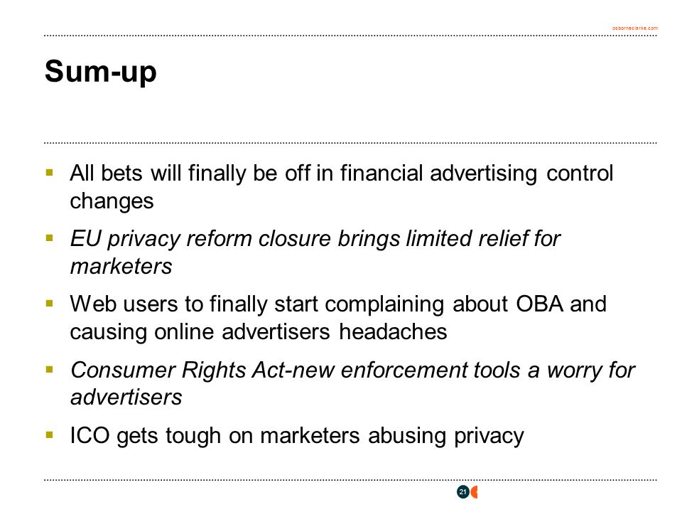 osborneclarke.com Sum-up  All bets will finally be off in financial advertising control changes  EU privacy reform closure brings limited relief for