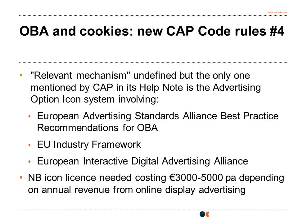osborneclarke.com OBA and cookies: new CAP Code rules #5 Questions and Predictions Questions Jurisdiction.