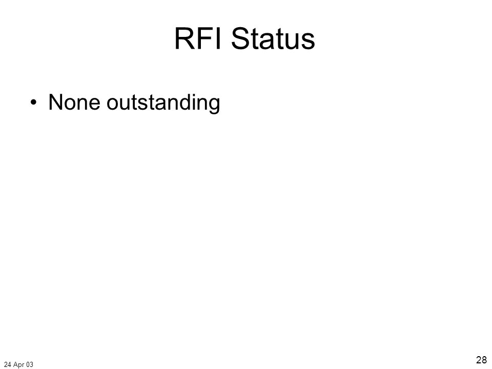 24 Apr 03 28 None outstanding RFI Status