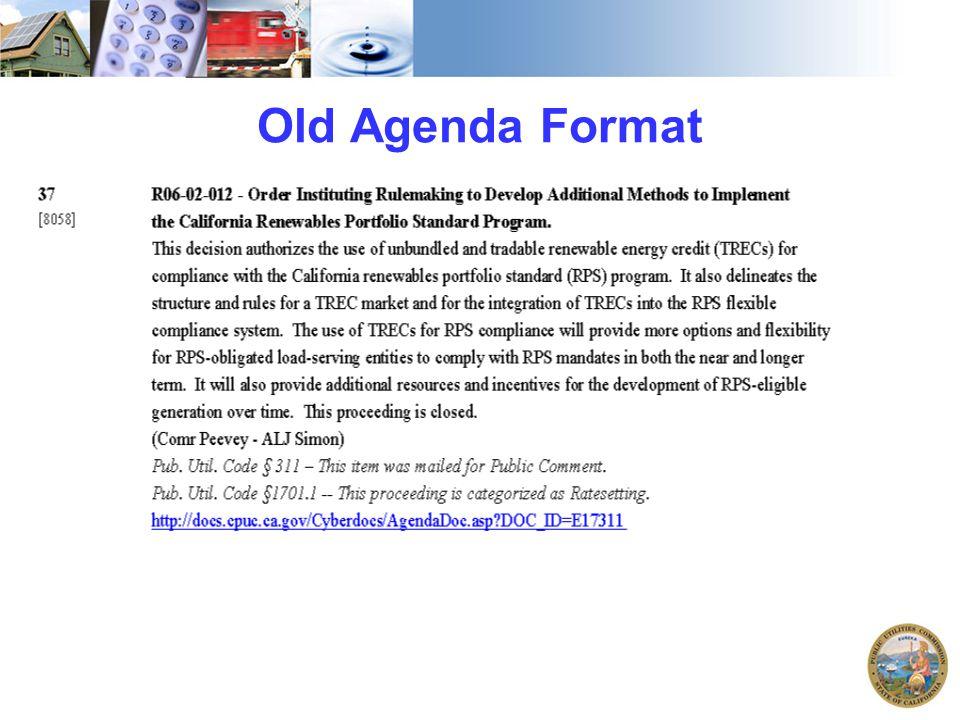 Old Agenda Format