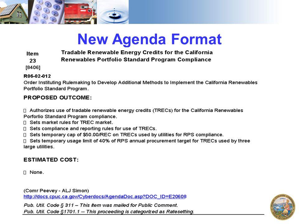 New Agenda Format