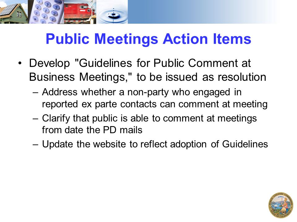Public Meetings Action Items Develop