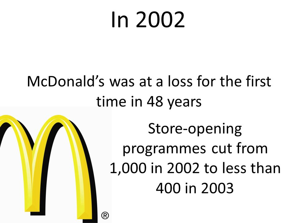 McDonald's was at a loss for the first time in 48 years Store-opening programmes cut from 1,000 in 2002 to less than 400 in 2003 In 2002