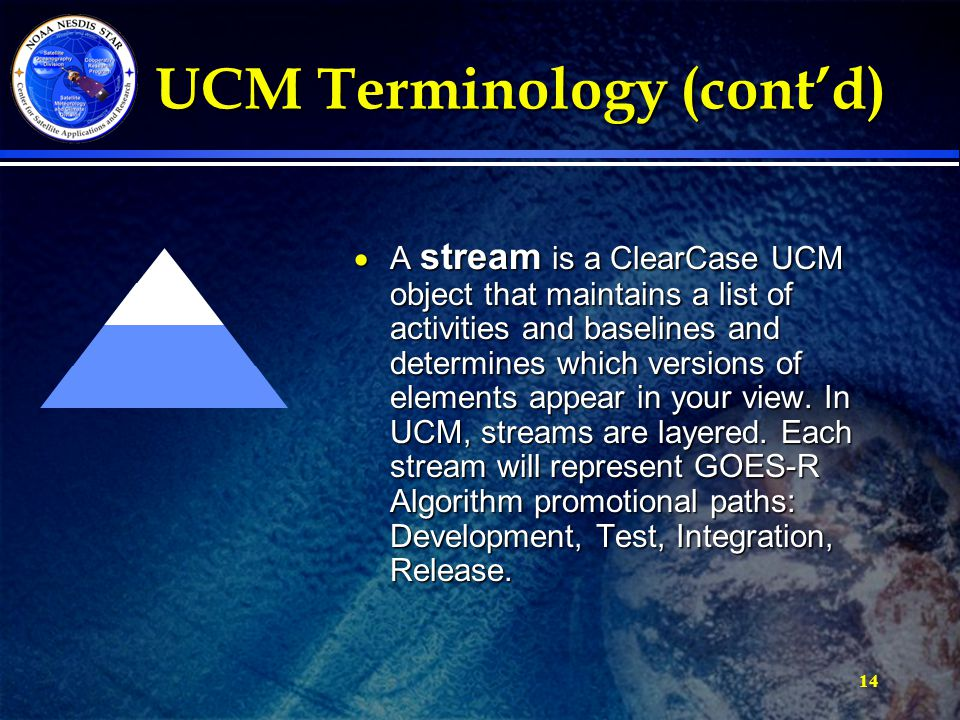 14 UCM Terminology (cont'd) UCM Terminology (cont'd)  A stream is a ClearCase UCM object that maintains a list of activities and baselines and determines which versions of elements appear in your view.