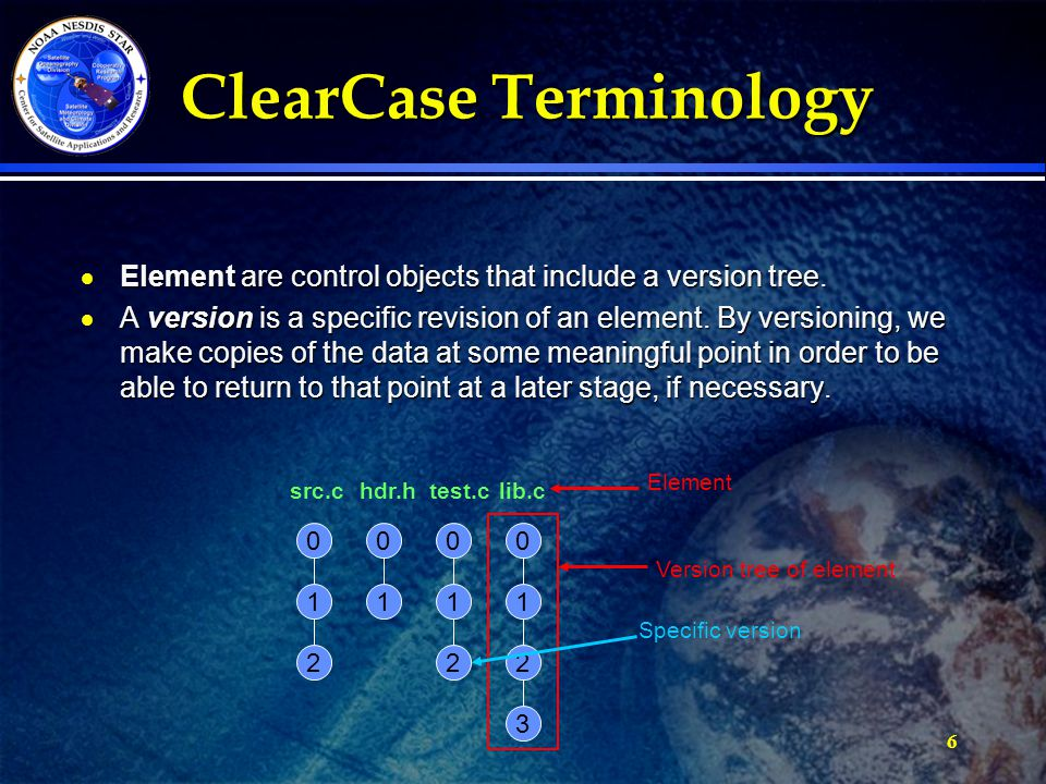 6 ClearCase Terminology  Element are control objects that include a version tree.
