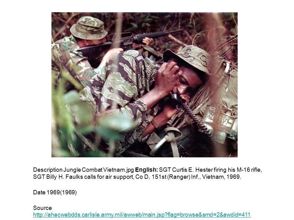 Description Jungle Combat Vietnam.jpg English: SGT Curtis E. Hester firing his M-16 rifle, SGT Billy H. Faulks calls for air support, Co D, 151st (Ran