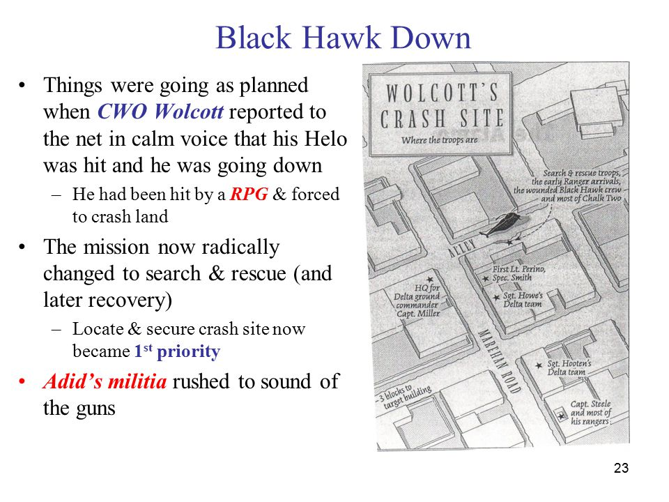 23 Black Hawk Down Things were going as planned when CWO Wolcott reported to the net in calm voice that his Helo was hit and he was going down –He had been hit by a RPG & forced to crash land The mission now radically changed to search & rescue (and later recovery) –Locate & secure crash site now became 1 st priority Adid's militia rushed to sound of the guns