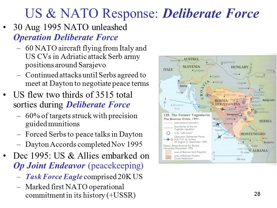 28 US & NATO Response: Deliberate Force 30 Aug 1995 NATO unleashed Operation Deliberate Force –60 NATO aircraft flying from Italy and US CVs in Adriatic attack Serb army positions around Sarajevo –Continued attacks until Serbs agreed to meet at Dayton to negotiate peace terms US flew two thirds of 3515 total sorties during Deliberate Force –60% of targets struck with precision guided munitions –Forced Serbs to peace talks in Dayton –Dayton Accords completed Nov 1995 Dec 1995: US & Allies embarked on Op Joint Endeavor (peacekeeping) –Task Force Eagle comprised 20K US –Marked first NATO operational commitment in its history (+USSR)