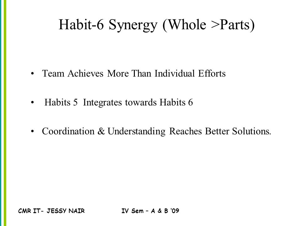CMR IT- JESSY NAIRIV Sem – A & B '09 Habit-6 Synergy (Whole >Parts) Team Achieves More Than Individual Efforts Habits 5 Integrates towards Habits 6 Coordination & Understanding Reaches Better Solutions.
