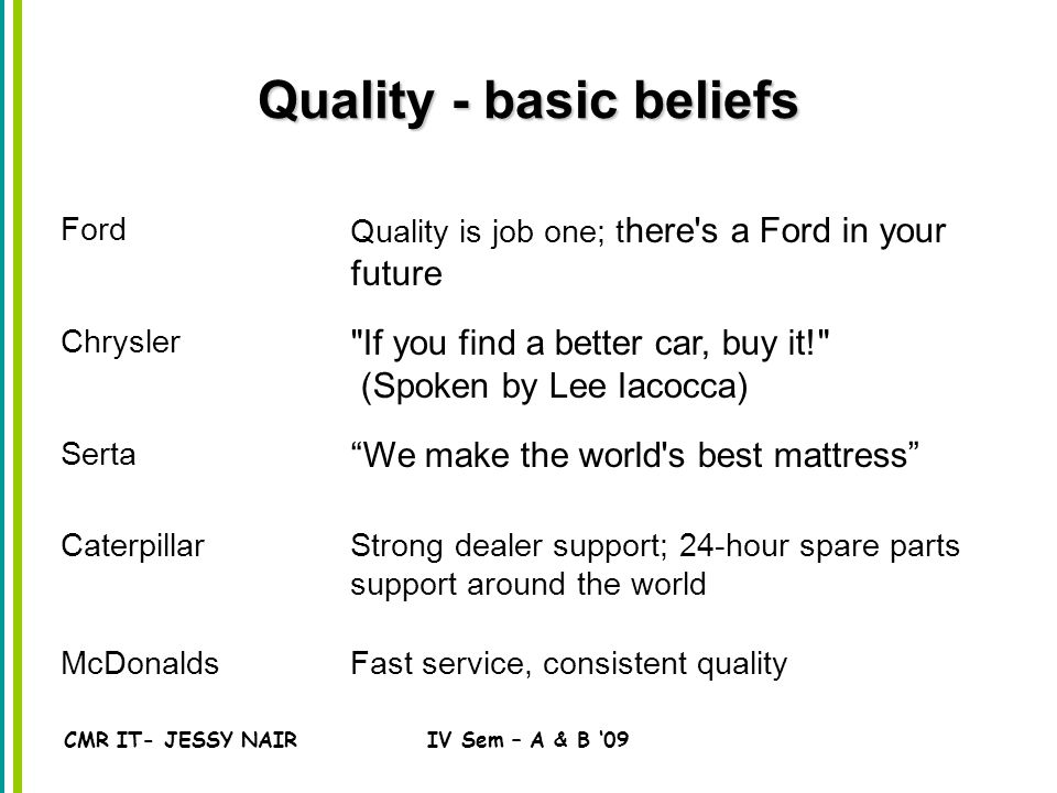 CMR IT- JESSY NAIRIV Sem – A & B '09 Quality - basic beliefs Ford Quality is job one; t here s a Ford in your future Chrysler If you find a better car, buy it! (Spoken by Lee Iacocca) Serta We make the world s best mattress CaterpillarStrong dealer support; 24-hour spare parts support around the world McDonaldsFast service, consistent quality