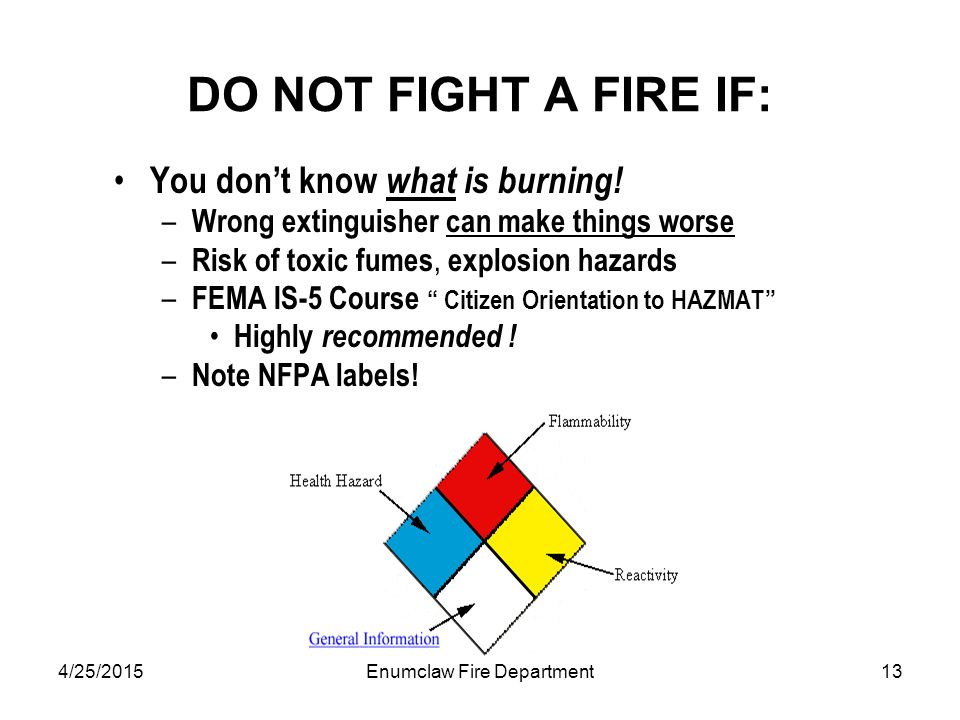 4/25/2015Enumclaw Fire Department13 DO NOT FIGHT A FIRE IF: You don't know what is burning.