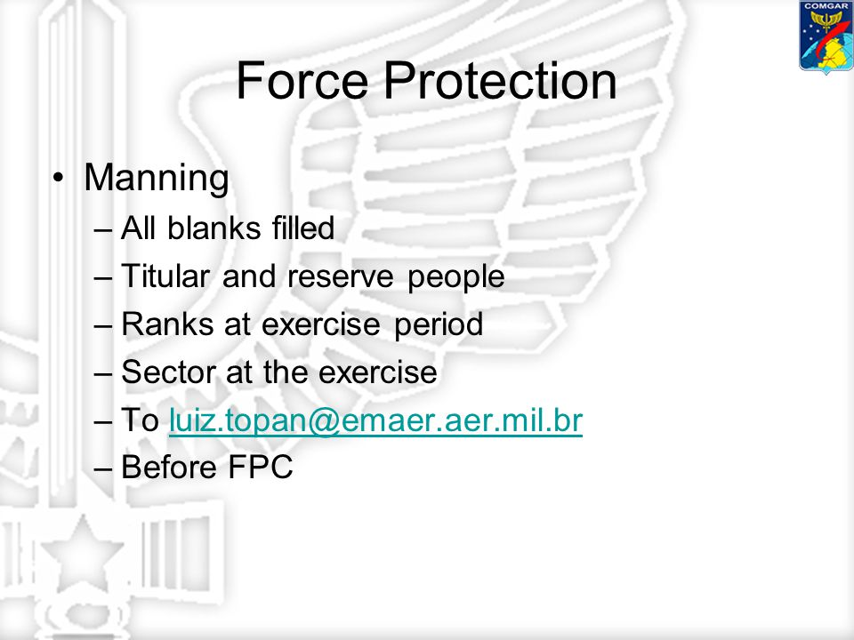 Force Protection Manning –All blanks filled –Titular and reserve people –Ranks at exercise period –Sector at the exercise –To luiz.topan@emaer.aer.mil.brluiz.topan@emaer.aer.mil.br –Before FPC
