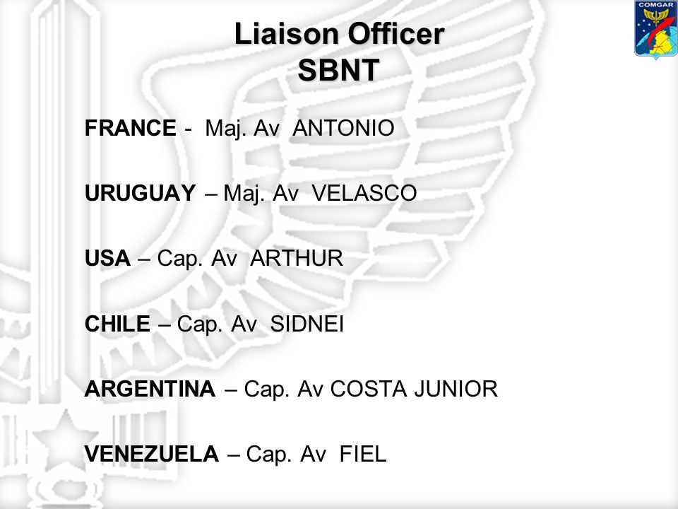Liaison Officer SBNT FRANCE - Maj. Av ANTONIO URUGUAY – Maj.