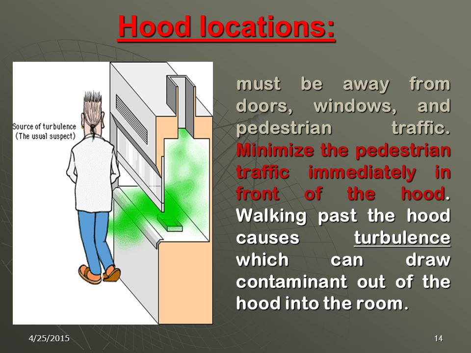 4/25/201513 Proper Use  Equipment and other materials should be placed at least six inches (15cm) behind the sash.  Do not use fume hood as a storag