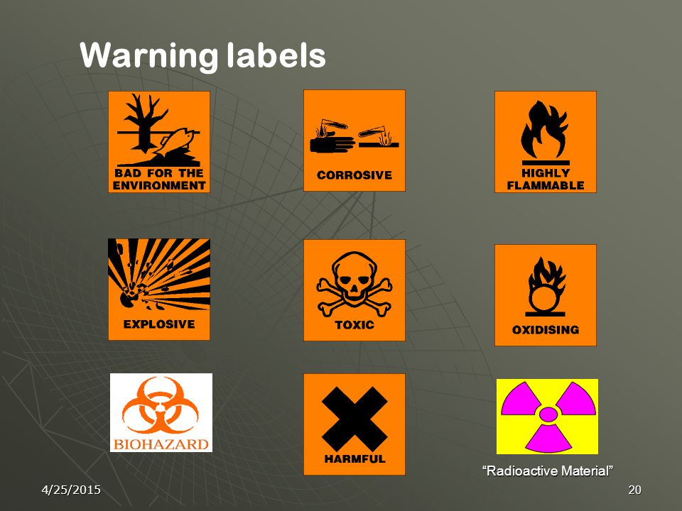 4/25/201519 General Guidelines  Segregate incompatible chemicals. Do not store chemicals Alphabetically.  Purchase the minimum amount required.  Da