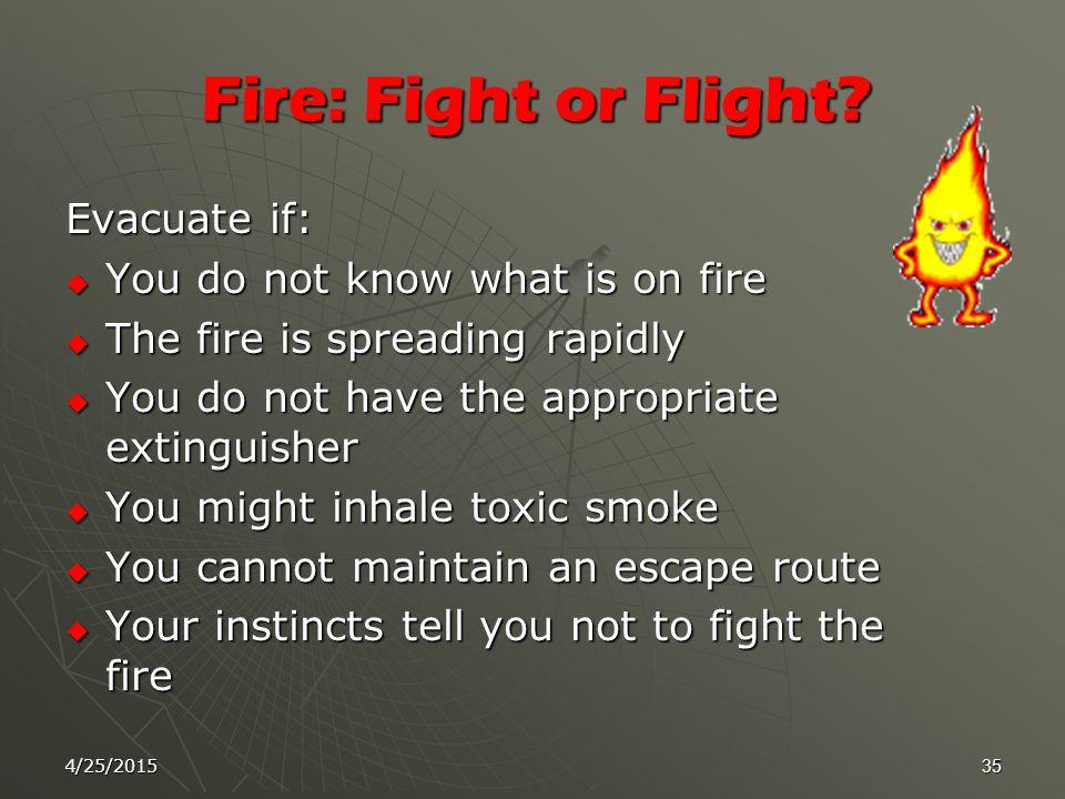 4/25/201534 Classes of Fires : Classes of Fires :  1-Class A Fires  2-Class B Fires  3-Class C Fires  4- Class D Fires