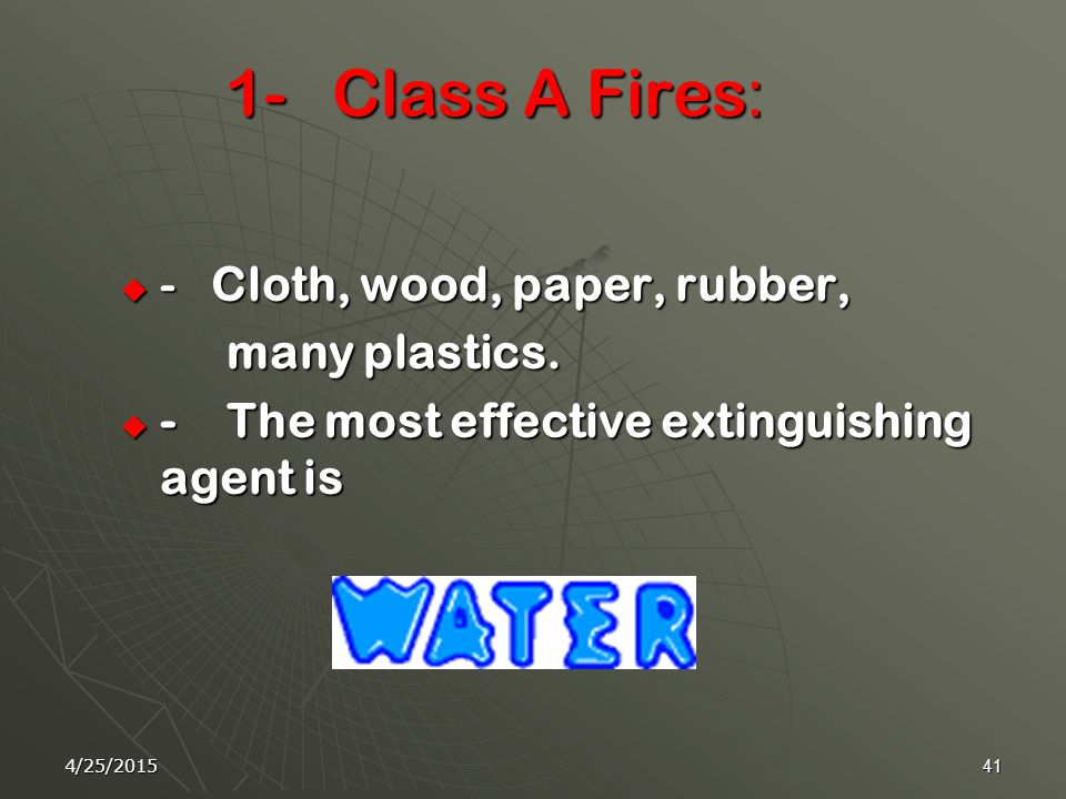 4/25/201540 Fire Extinguishers There are four types of Fire Extinguishers:  1- Water Fire Extinguishers  2- Foam/Dry Chemical Fire Extinguishers.