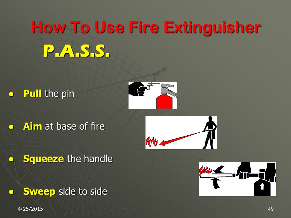 4/25/201548 4- Class D Fires :  These are fires involving metals such as : Sodium - Potassium - Magnesium.  Special types of Dry Powders are used to