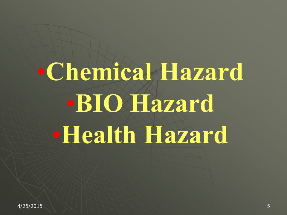 4 Introduction Laboratory operations present special health hazards that may not exist in other types of workplaces due to the exposure to a variety of chemicals, and beside these hazards there other dangers including fires, explosions.