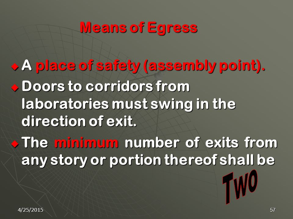 4/25/201556 10-Emergency Exits is a continuous and unobstructed way of exit travel from any point in a building or structure to a public way by their