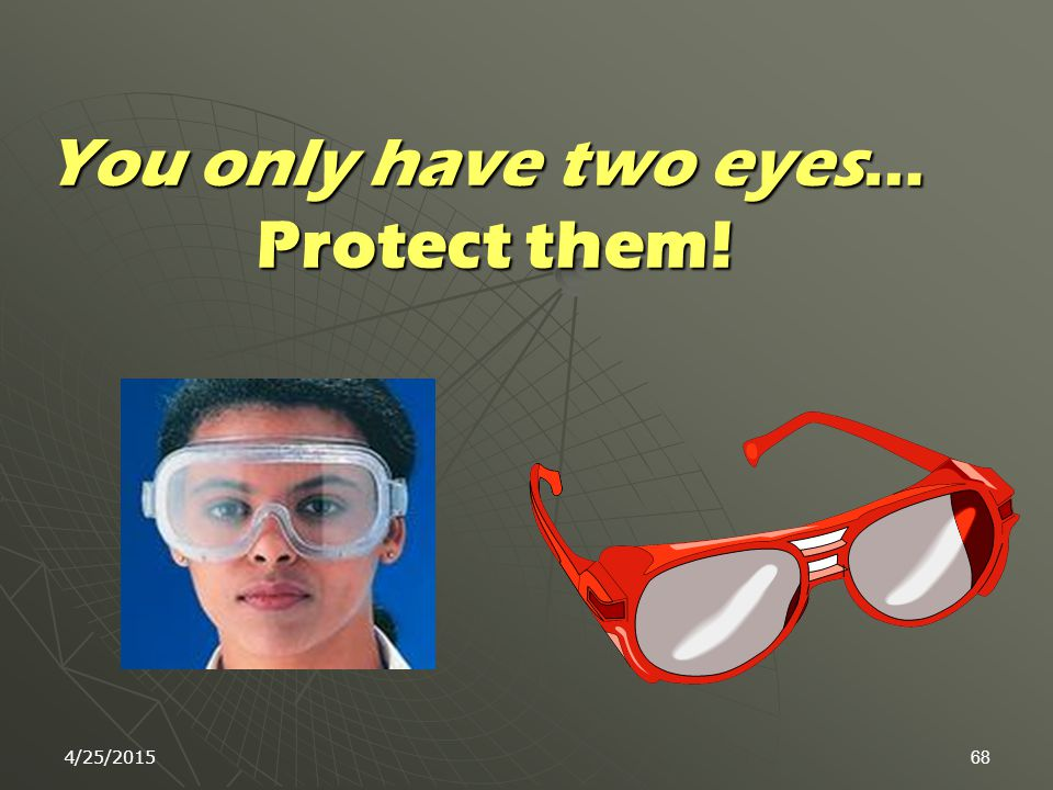 4/25/201567 While Working in the Lab:  Use appropriate eye, and hand protection  Shoes with full coverage and good grip soles