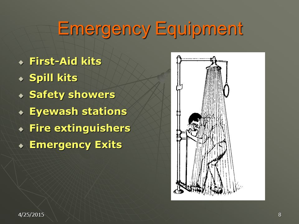 4/25/20157 Laboratory Safety Equipment  1- Fume Hoods  2- Eye Wash Stations  3- Safety Showers  4- Emergency Exits  5- Individual Storage Contain