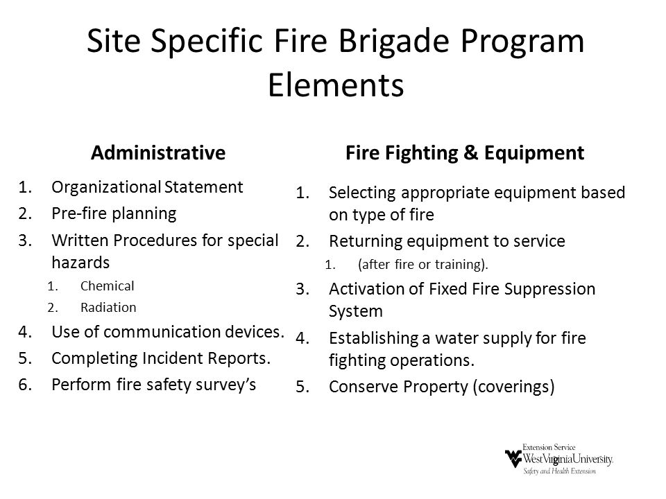 Site Specific Fire Brigade Program Elements Administrative 1.Organizational Statement 2.Pre-fire planning 3.Written Procedures for special hazards 1.Chemical 2.Radiation 4.Use of communication devices.