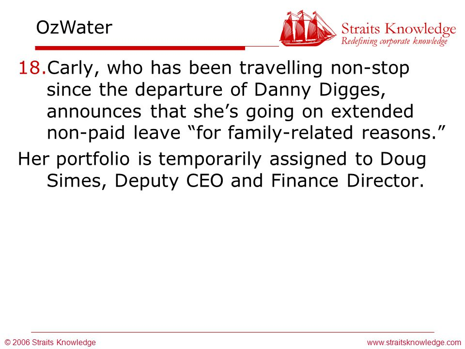© 2006 Straits Knowledge OzWater www.straitsknowledge.com 18.Carly, who has been travelling non-stop since the departure of Danny Digges, announces that she's going on extended non-paid leave for family-related reasons. Her portfolio is temporarily assigned to Doug Simes, Deputy CEO and Finance Director.