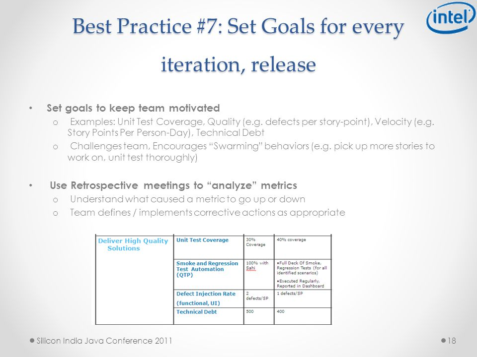 Best Practice #7: Set Goals for every iteration, release Set goals to keep team motivated o Examples: Unit Test Coverage, Quality (e.g.