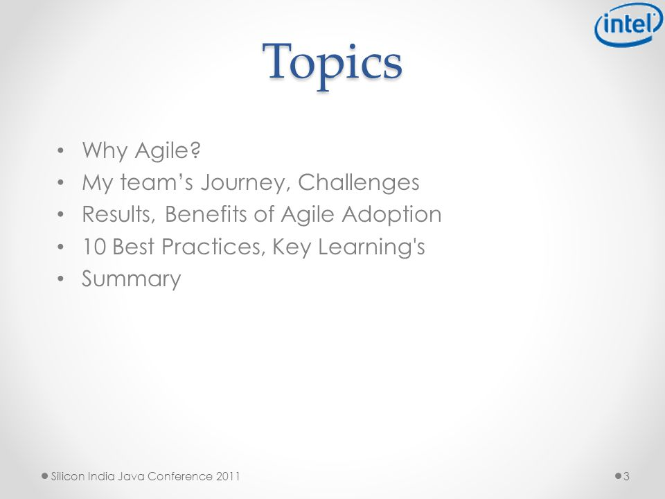 Topics Why Agile.