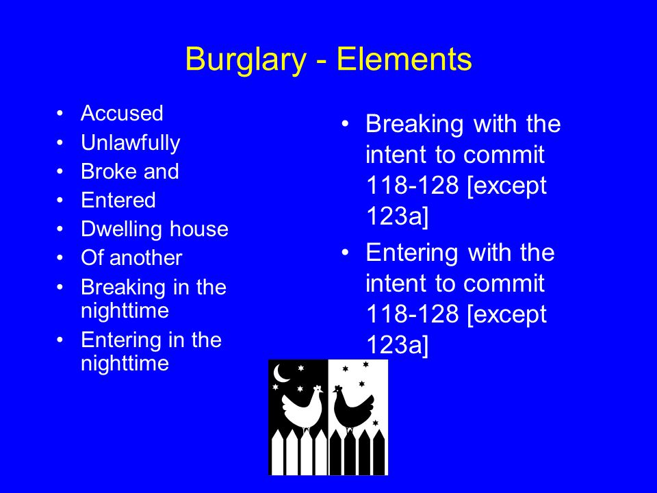 Burglary - Elements Accused Unlawfully Broke and Entered Dwelling house Of another Breaking in the nighttime Entering in the nighttime Breaking with the intent to commit 118-128 [except 123a] Entering with the intent to commit 118-128 [except 123a]
