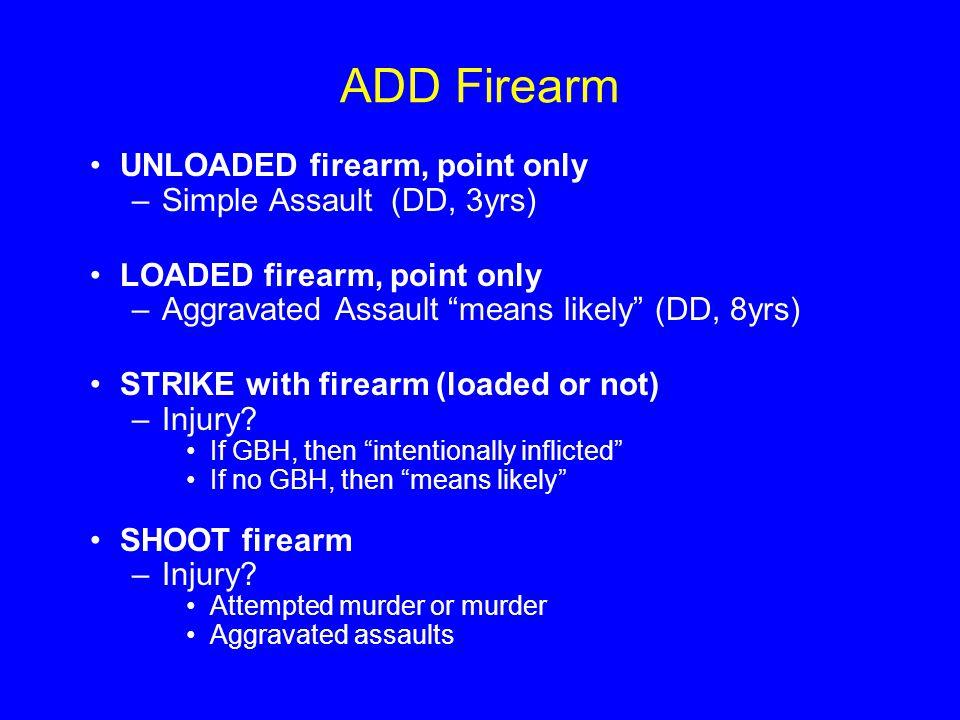 ADD Firearm UNLOADED firearm, point only –Simple Assault (DD, 3yrs) LOADED firearm, point only –Aggravated Assault means likely (DD, 8yrs) STRIKE with firearm (loaded or not) –Injury.